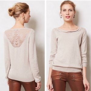 Anthropologie Sparrow Black Aida Lace Back Sweater